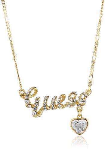 Guess Damen-Halskette Goldfarben Logoelement mit Charm und Weien Schmucksteinen 40-45cm UBN81134 thumbnail