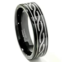 Black Tungsten Carbide Laser Engraved Celtic Ring Size 6-14