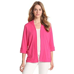 Rafaella Women's Roll Tab Cardigan Sweater, Dark Camelia Rose, Medium
