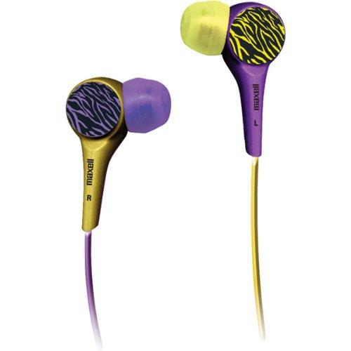 Brand New Maxell Wild Things Stereo Earbud-Purple/Yellow Zebra
