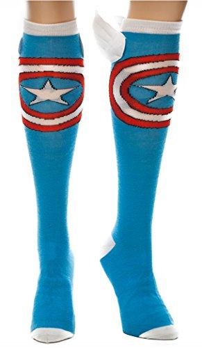 Captain America Winged Knee High Socks, Blue, Sock size 9-11, Shoe size 5-10