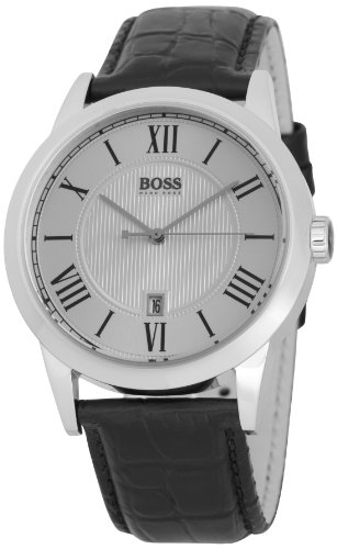 Hugo Boss Men's Quartz Watch with Silver Dial Analogue Display and Black Leather Strap 1512439