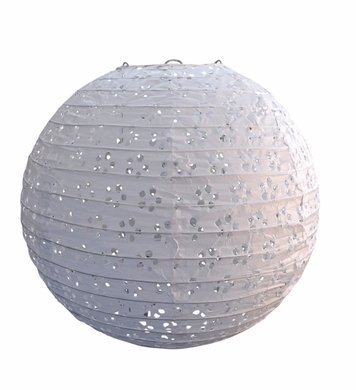 """Quasimoon 8"""" Round Eyelet Lace Look Paper Lantern - White by PaperLanternStore by Asian Import Store, Inc."""