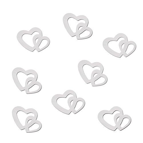 100-Stk-Deko-Doppel-Herzen-silber-rot-oder-gold-Wei