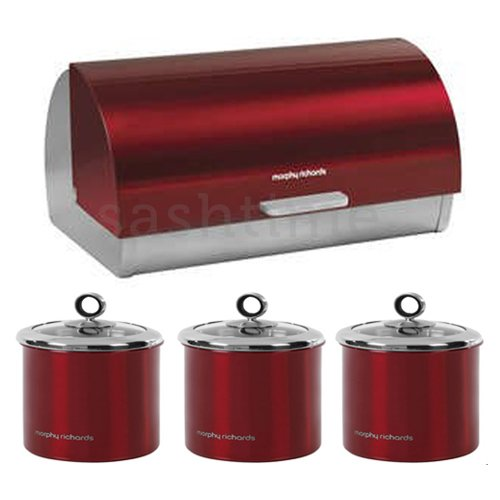 Morphy Richards Bread Bin Roll Top Storage Canisters Red