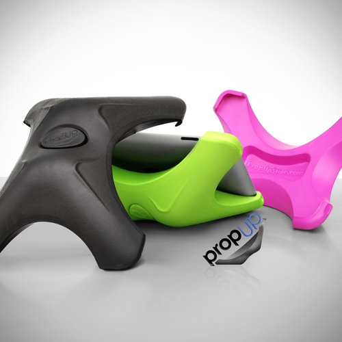 Black - PropUp iPad Stand - Ergonomic Holder for Apple iPad, both V1 & V2 - Pink/Green colors also on Amazon.
