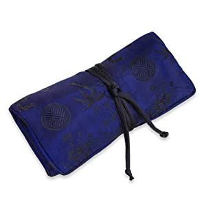 Jewelry Roll (Large) - Silk Jacquard (Cobalt Blue)