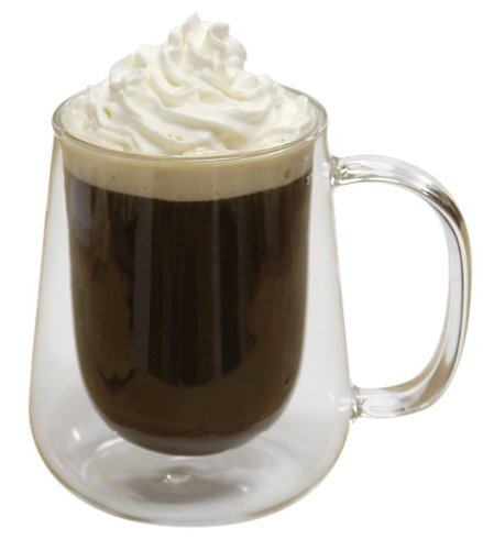 Set of 2 Double Wall Glasses, An Insulated 12 Ounce Glass Mug. Perfect for Coffee, Tea, Cappuccino, Hot Chocolate, Beer and other cold drinks