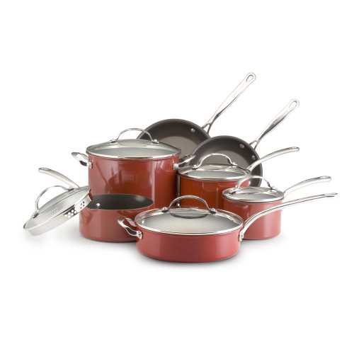 Kitchenaid artisan red kitchenaid reserved 12 piece nonstick hard base cookware set red - Kitchen aid pan set ...