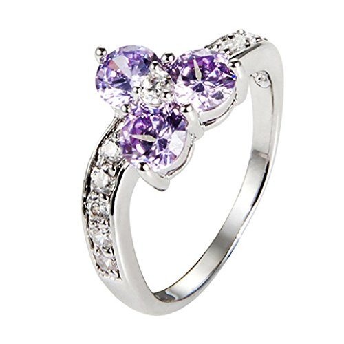 Amdxd Jewelry 18K Gold Plated Lady'S Fashion Figure Rings Clover Flowers Shinning Aaa+ Quality High Cz Cubic Zirconia Purple Us Size 6