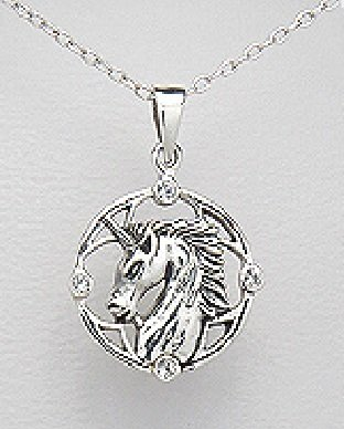 "Solid .925 Sterling Silver Magical Unicorn Horse Equestrian 31 mm With Cubic Zirconia Pendant Comes with a 20"" Chain Necklace"