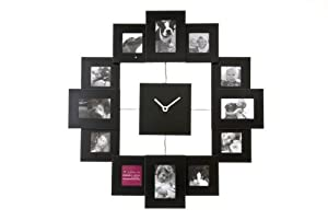 Present Time Photo Frame Clock Family Time, Black