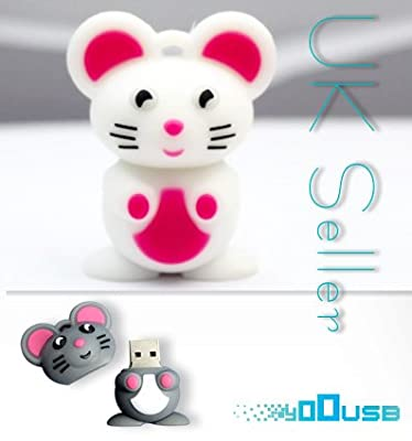 4GB Novelty Cartoon Cute White Mouse USB Flash Key Pen Drive Memory Stick Gift UK [PC] by YooUSB