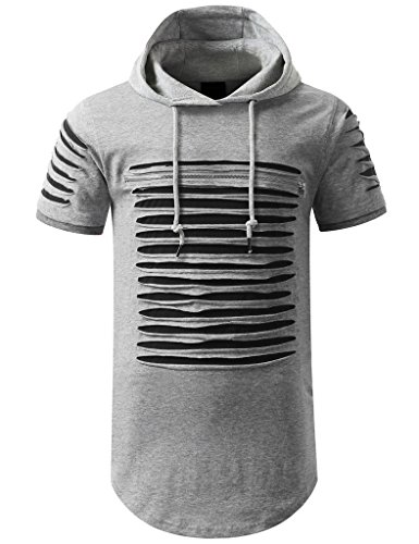 Men's Hip Hop Longline Hooded T-Shirt (M, SATS30_H.Grey/Black) (H And M Clothing Men compare prices)