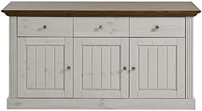 Steens 3170250264001F Anrichte Monaco,145 x 78  x 47 cm, Kiefer massiv, weiß Provence