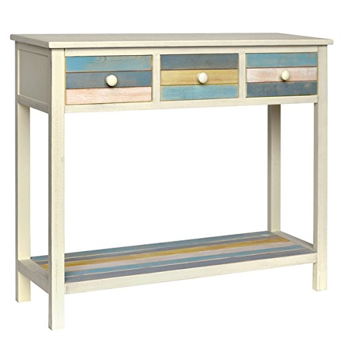 Gallerie Decor Seaside White/Blue/Yellow Wood Console Table 1