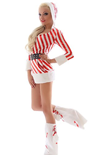 Voglee Ladies Sexy Candy Canes Santa Christmas Dress Set Costume Theme Party