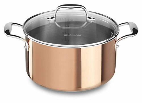 KitchenAid KCP60LCCP Tri-Ply Copper 6-Quart Low Casserole with Lid Cookware - Satin Copper (Kitchenaid Triply compare prices)