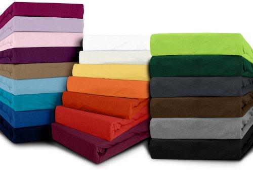 klassisches jersey spannbetttuch erh ltlich in 22 modernen farben und 6 verschiedenen gr en. Black Bedroom Furniture Sets. Home Design Ideas