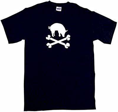 Pig Silhouette BBQ Style Logo Pirate Skull Cross Bones Men's Tee Shirt