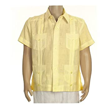 Boys linen short sleeve guayabera in yellow. Final sale