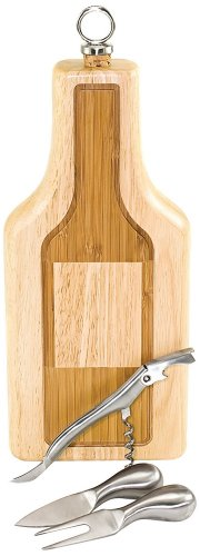 Picnic Time Silhouette Bottle 2 Tone Wood Wine/Cheese Board/Tools Natural Wood