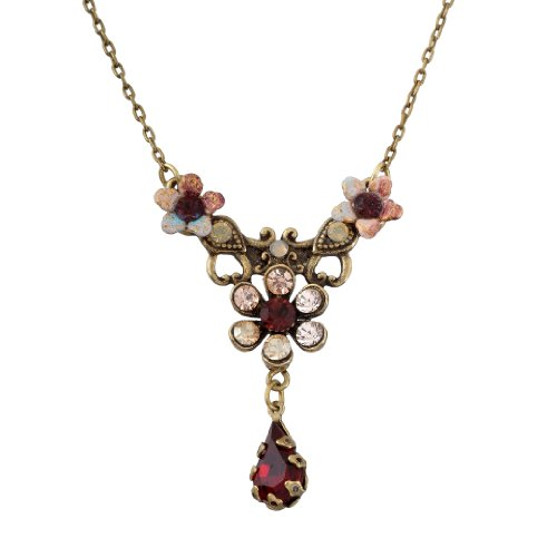 Michal Negrin Necklace with Hand-Painted Flowers, Vintage Elements, Tear Drop, Burgundy and Pink Swarovski Crystals