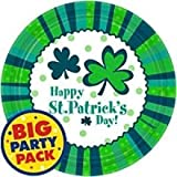 Amscam St Patrick s Day Cheer Round Plates (60 Per Pack), 9 , Green White
