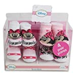 4 Pk Disney Mickey Minnie Baby Booties 0-6 Months