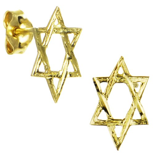 14k Yellow Gold Star of David Stud Earrings