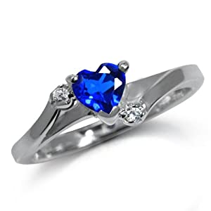 Heart Shape Synthetic Sapphire Blue & White CZ 925 Sterling Silver Engagement Ring Size 7 from Silvershake