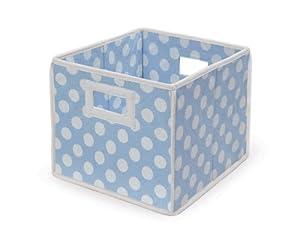 Badger Basket Folding Nursery Basket/Storage Cube, Blue Dot