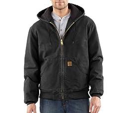 Carhartt Men\'s Quilted Flannel Lined Sandstone Active Jacket J130,Black,Large