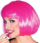 Super Model Hot Pink Wig Halloween Accessory