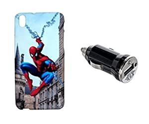 ZOOP Premium High Quality Rubberized Protective Printed Case Cover for HTC Desire 816 -Spiderman (The Amazing Spider-man) With Car Charger