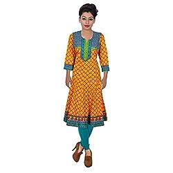 Alpna's Fabtex Yellow Blue Embroidered Anarkali Dailywear Cotton Kurta