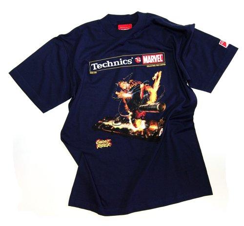 DMC Technics Marvel Ghost Rider DJ Mens T-Shirt Navy Blue Tm8Nm Medium