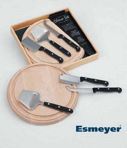 Esmeyer Gourmet - Tabla y cuchillos para queso, 4 piezas
