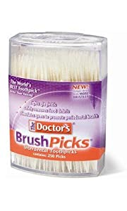 The Doctor's BrushPicks Toothpicks, 250 Picks (Pack of 12)