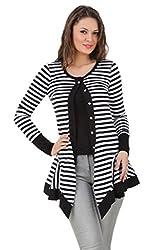 Texco cotton jersey stripe black & white round neck shrug