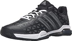 adidas Performance Men\'s Barricade Club Tennis Shoe, Black/Metallic Silver/Flash Red, 12 M US