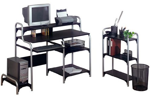 Buy Low Price Comfortable Ameriwood Metal Frame Computer Desk with Bookcase in Black and Silver (B000TCU0CC)