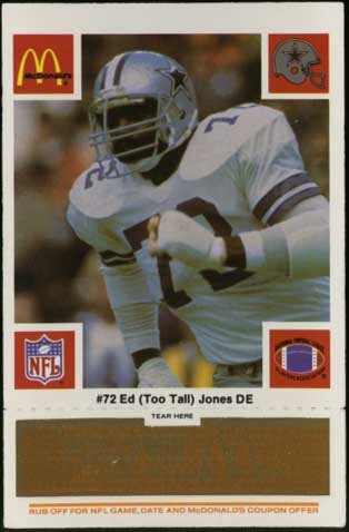 Ed (Too Tall) Jones &quot;Dallas Cowboys&quot; McDonald&#039;s NFL Play &amp; Win 1986 Football Card at Amazon.com