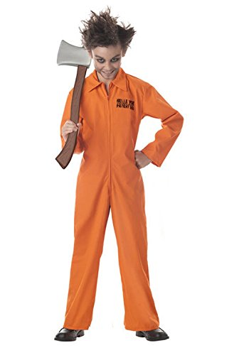 [Mememall Fashion Psychopath Boys Child County Prison Orange Jail Jumpsuit Costume] (County Jail Jumpsuit Costume)