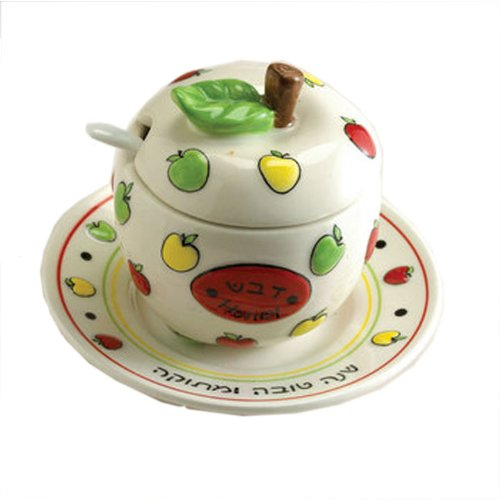 Rite Lite HDA-2 Ceramic Apple Honey Dish Set With Plate And Spoon - Pack Of 2