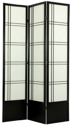 "Office Partition - 84"" Double Cross Japanese Design Floor Screen Room Divider - 4 Panel Natural"