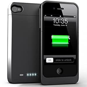 uNu Power DX External Protective Battery Case for iPhone 4S & 4 - MFI Apple Certified (Matte Black, Fit All Models iPhone 4 & 4S)