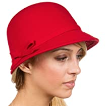 EH0621LC - Womens Vintage Style Wool Cloche Bucket Winter Hat with Ribbon Bow Accent ( 4 Colors ) - Red/One Size