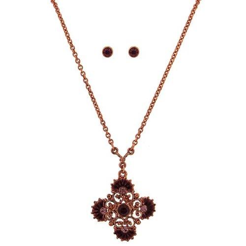 Amethyst Floral Necklace & Stud Earring Set
