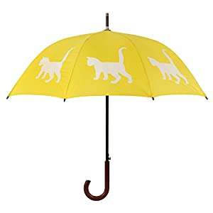 The San Francisco Umbrella Company Walking Stick Rain Umbrella, Cat Yellow and White